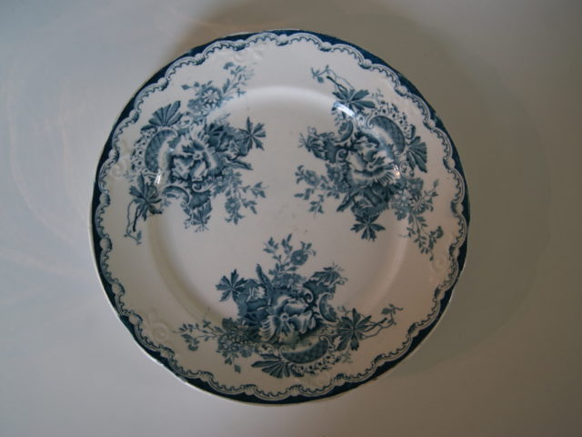 Egersund plate with blue flowers and with relief