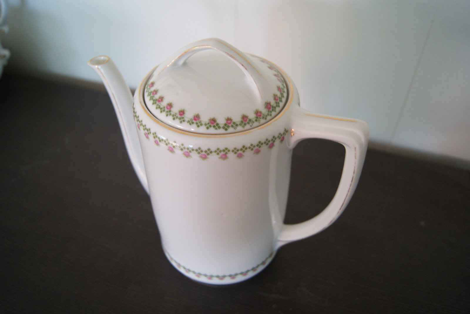 Porsgrund Olaf coffee pot with red or pink flowers and green cubes