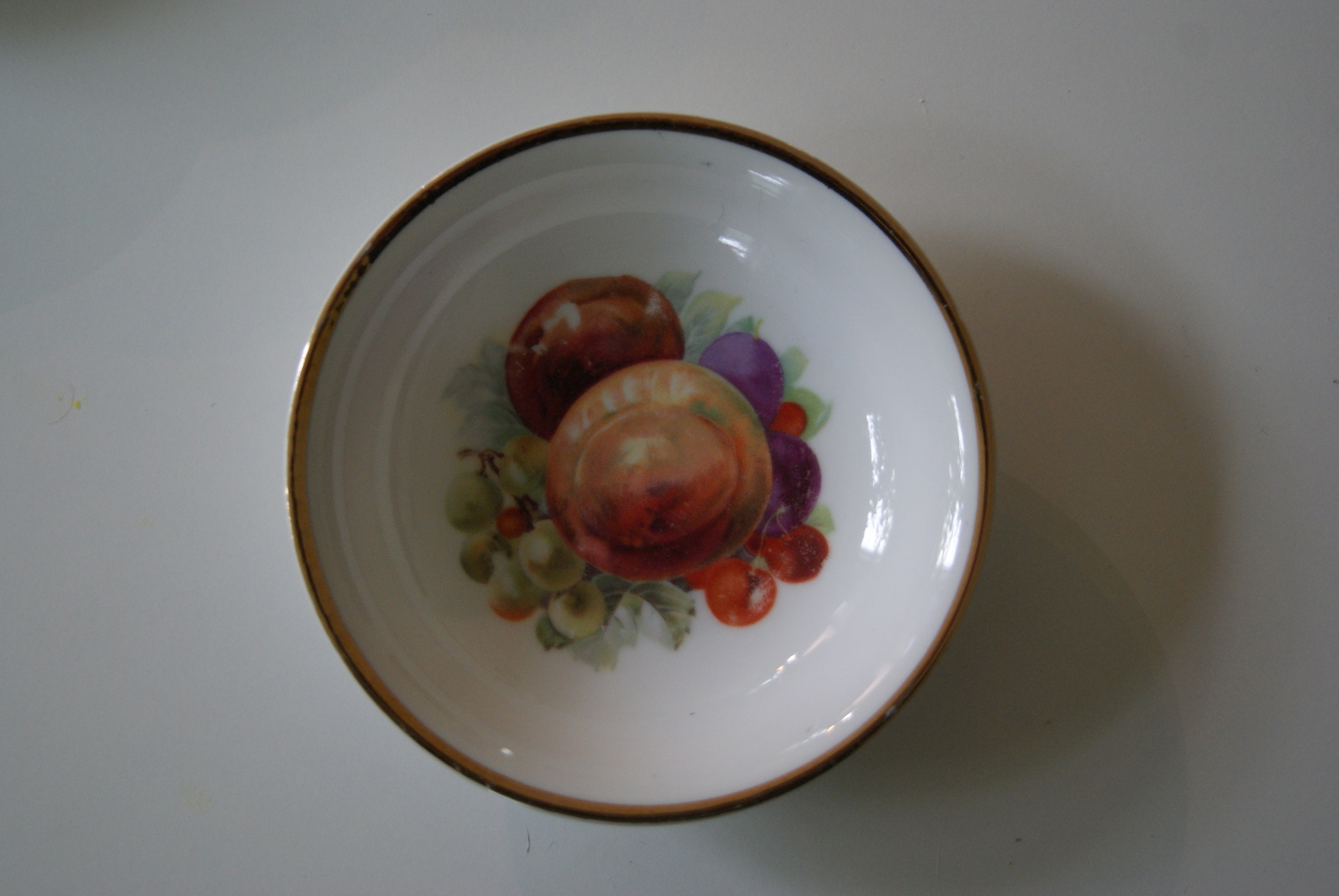Porsgrund dessert bowl with fruits - plums, peaches, cherries and grapes