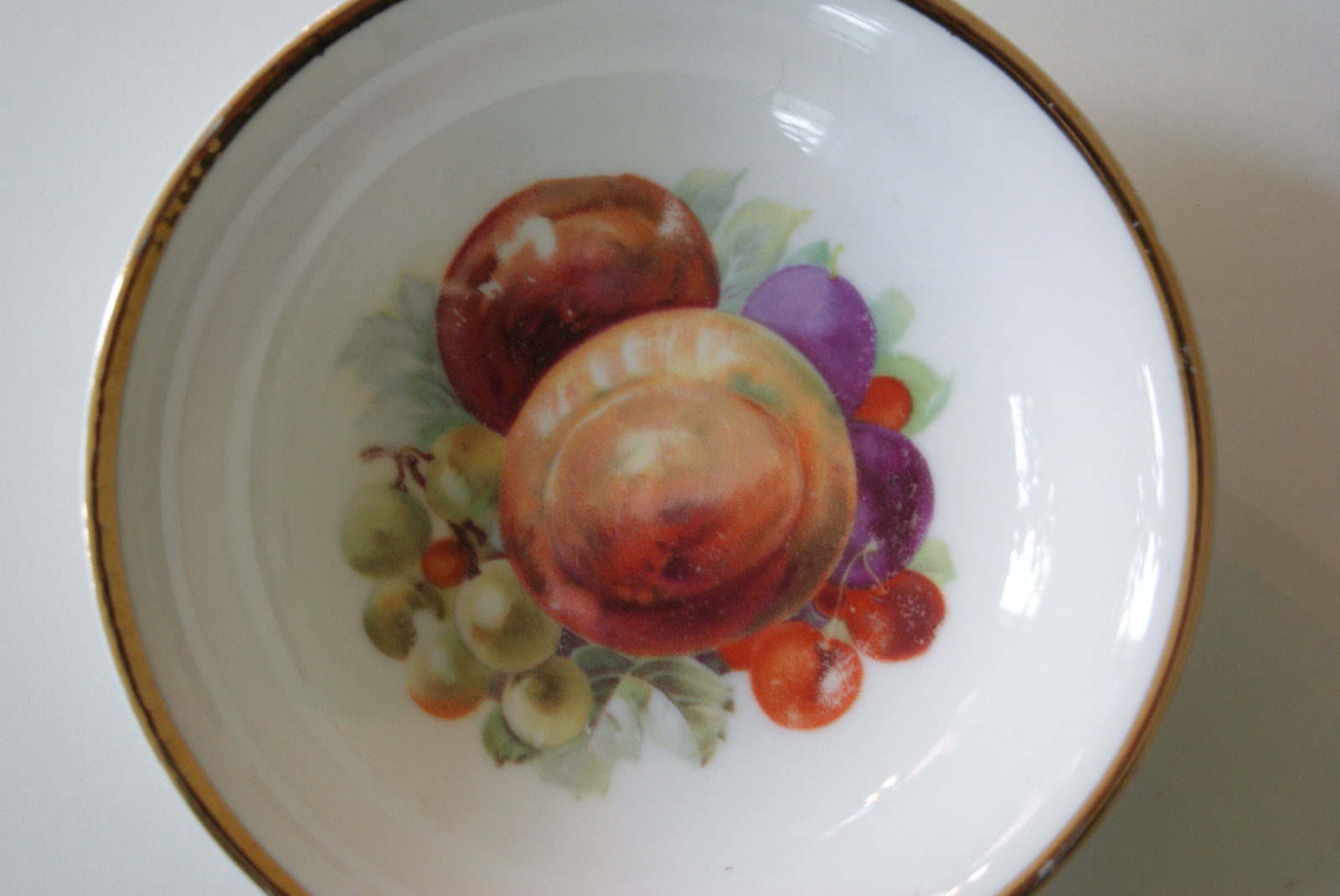 Porsgrund bowl with fruits - plums, peaches, cherries and grapes