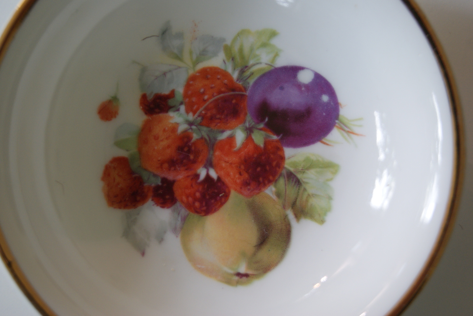 Porsgrund bowl with fruits - plums, pears and strawberries