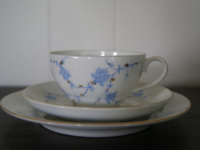 Porsgrund cup with saucer and plate with blue flowers