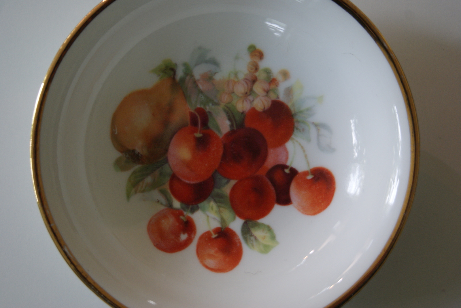 Porsgrund dessert bowl with fruits - pears, and cherries