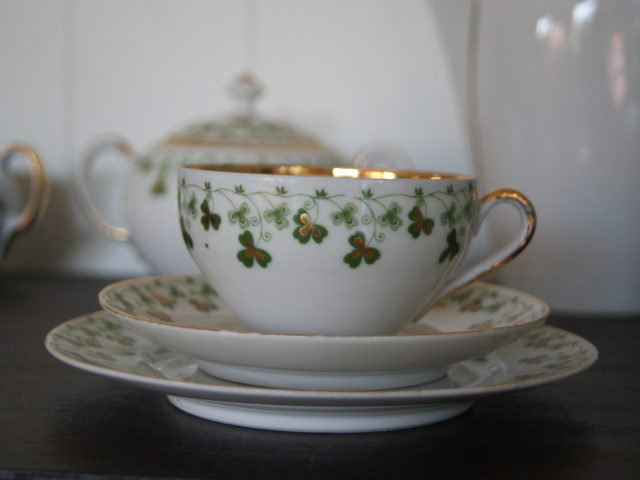 Stanowitz near Striegau tea cup, saucer and plate with green and gold clover