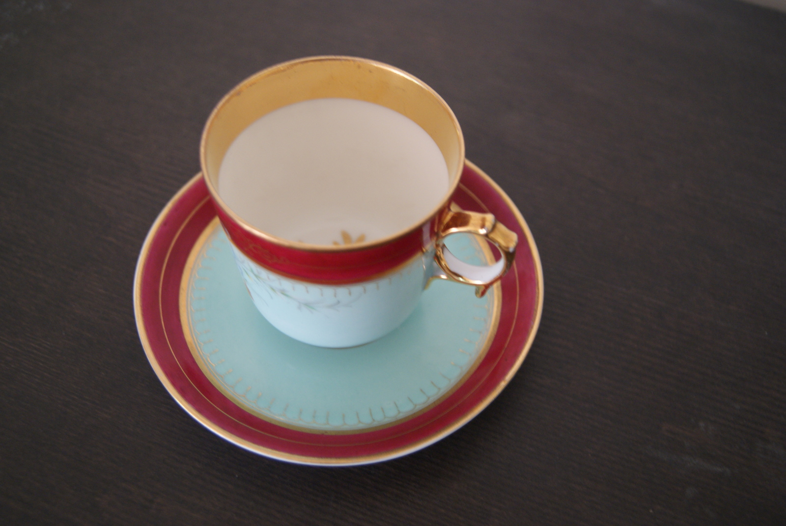 Waldenburg - Altwasser tea cup with saucer with Beautiful handpainted decor