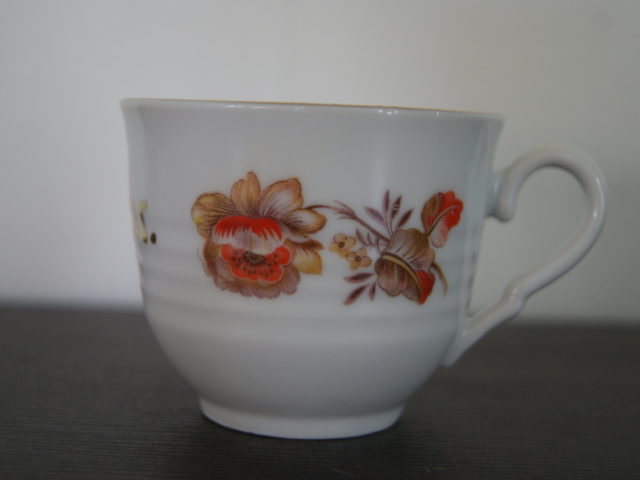 Porsgrund coffee cup with flowers for Bestefar