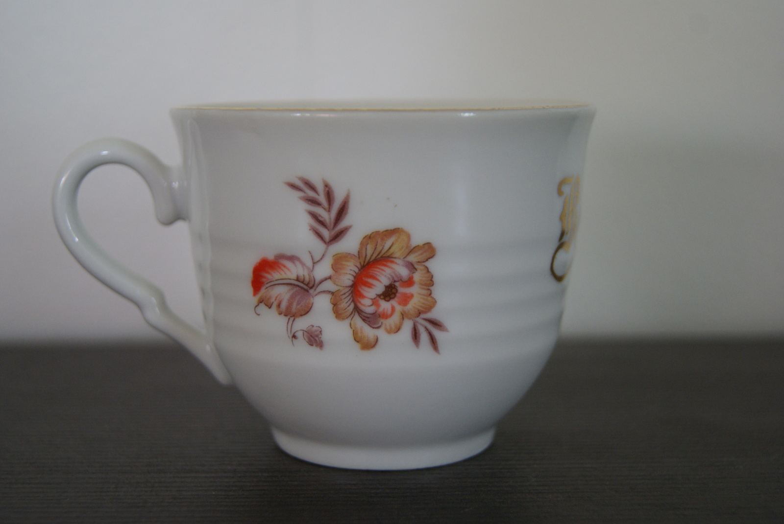 Porsgrund coffee cup with flowers for Bestefar