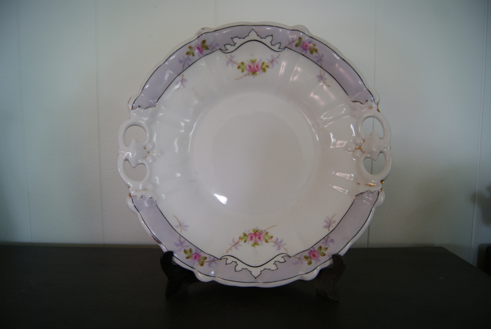 Waldenburg - Altwasser dish (plate) with flowers and blue band