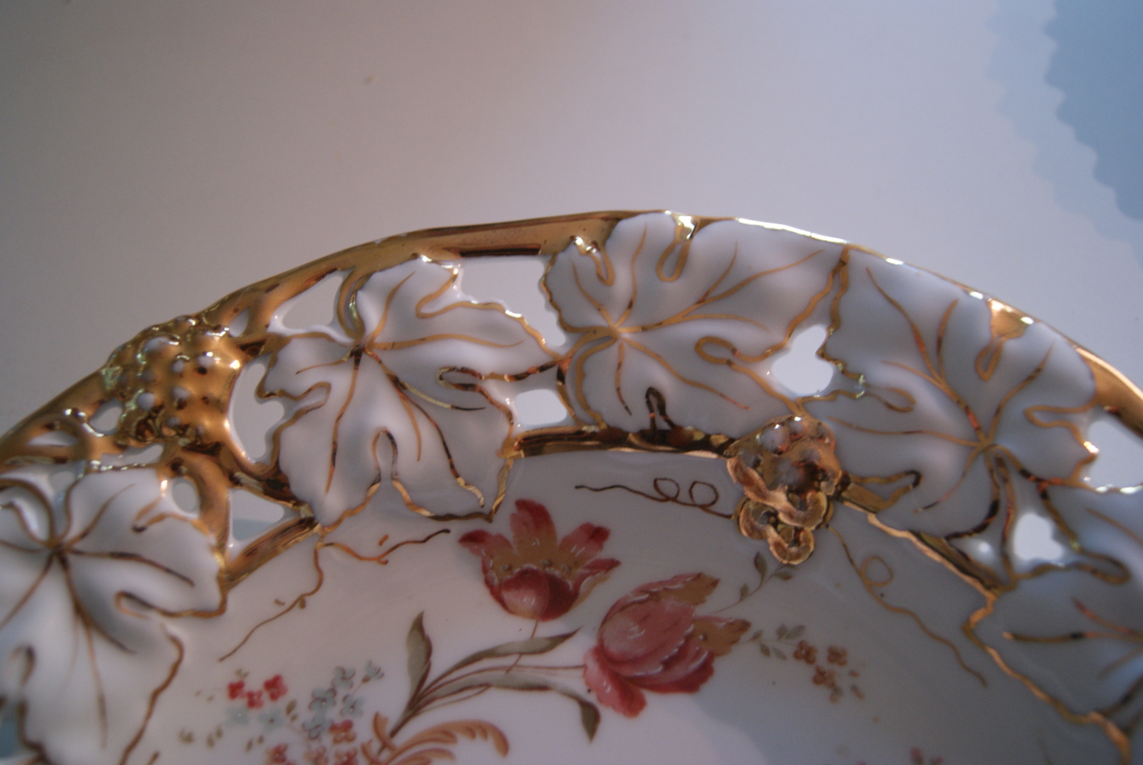 Waldenburg - Altwasser dish with flowers leaf and grapes relief and golden decor