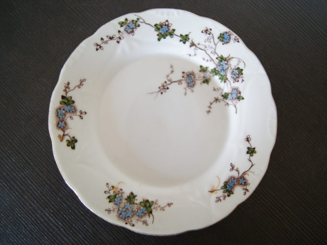 Porsgrund plate with blue flowers leaves and relief