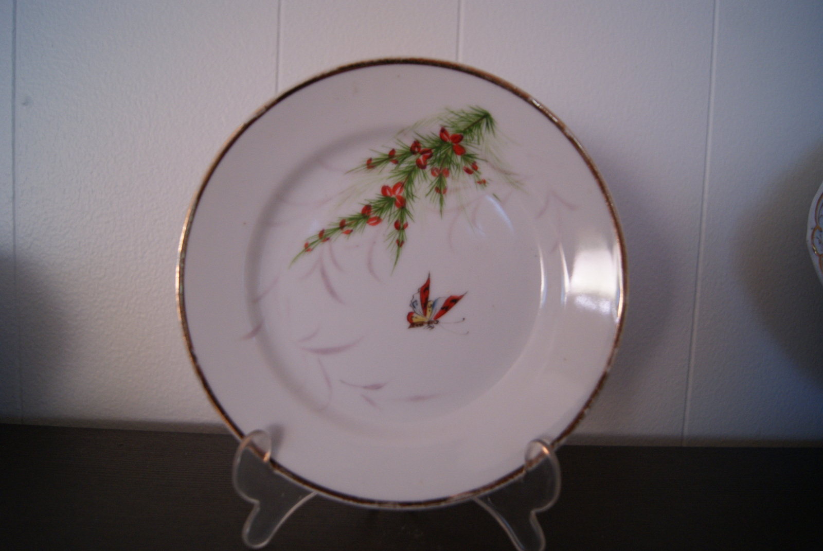 Copenhagen Bing & Grøndahl plate with butterfly and juniper with red fruits