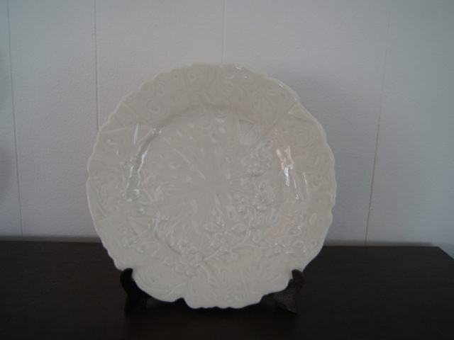 Porsgrund ivory colored dish (plate) with flowers relief