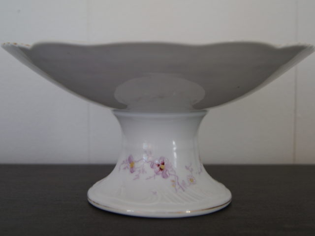 Porsgrund candy bowl with pansies flowers and relief